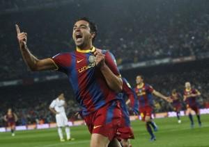 Xavi celebrando el 1-0 contra Real Madrid 29-11-2010